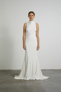 The Mila wedding gown from Prea James is a satin gown with high neck and is available exclusively at Bluebell Bridal in Victoria.